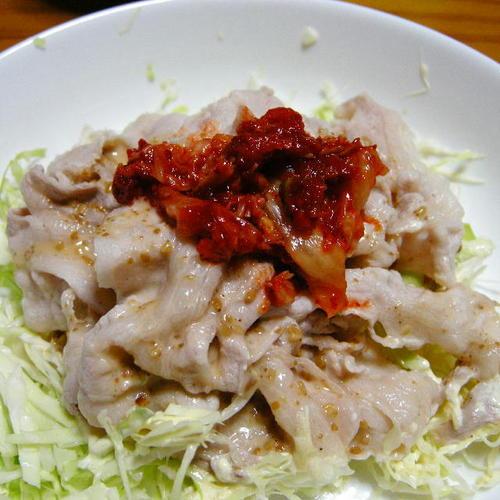 豚の冷しゃぶサラダ+白菜キムチ